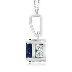 Toggle Round Sapphire Solitaire Pendant with Diamond Accents