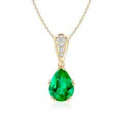 Vintage Pear Shaped Emerald Necklace with Diamond Accents