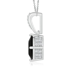 Toggle Oval Black Onyx Solitaire Pendant with Diamonds