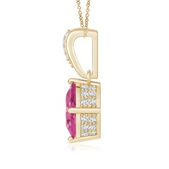 Toggle Oval Pink Sapphire Solitaire Pendant with Diamonds