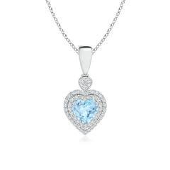 Aquamarine Heart Pendant with Diamond Double Halo