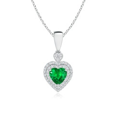Emerald Heart Pendant with Diamond Double Halo