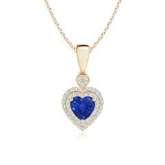 Diamond Double Halo Blue Sapphire Heart Necklace Pendant