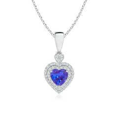 Tanzanite Heart Pendant with Diamond Double Halo