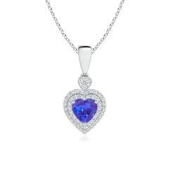Diamond Double Halo Tanzanite Heart Necklace Pendant