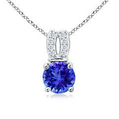 Angara Tanzanite Halo Pendant with Diamond Heart Motif ZrO6k