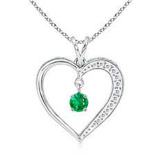 Dangling Round Emerald Heart Pendant
