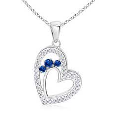 3 Stone Sapphire Open Double Heart Pendant with Diamond Accents