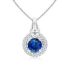 Round Sapphire Love Knot Pendant Necklace with Diamond