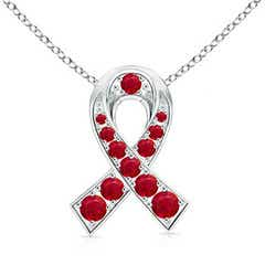 14k White Gold Round Ruby Ribbon Pendant Necklace