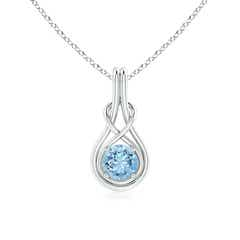 Round Aquamarine Infinity Knot Necklace in 4-Prong Setting