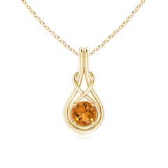 Round Citrine Infinity Knot Necklace in 4-Prong Setting