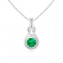 Round Emerald Solitaire Infinity Knot Pendant