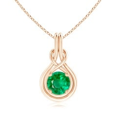 GIA Certified Round Emerald Solitaire Infinity Knot Pendant