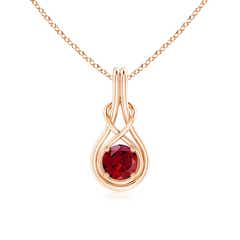 Round Garnet Infinity Knot Necklace in 4-Prong Setting