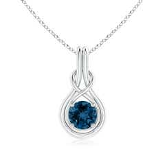 Round London Blue Topaz Solitaire Infinity Knot Pendant