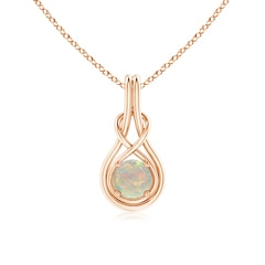 Round Opal Infinity Knot Necklace in 4-Prong Setting