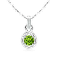 Round Peridot Solitaire Infinity Knot Pendant