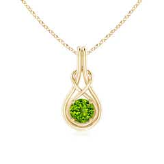 Round Peridot Infinity Knot Necklace in 4-Prong Setting