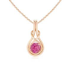 Round Pink Sapphire Infinity Knot Necklace in 4-Prong Setting