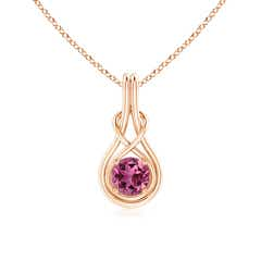 Round Pink Tourmaline Infinity Knot Necklace in 4-Prong Setting