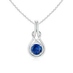 Round Sapphire Infinity Knot Pendant Necklace