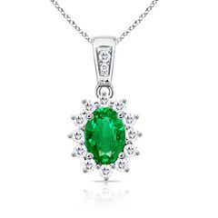 Oval Emerald Pendant Necklace with Diamond Cluster Halo