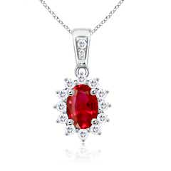 Oval Ruby Pendant Necklace with Diamond Cluster Halo