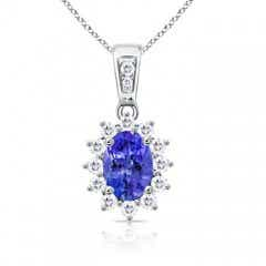 Oval Tanzanite Pendant with Diamond Halo