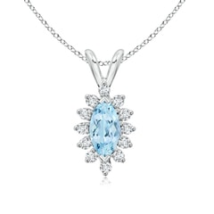 Vintage Style Marquise Aquamarine Pendant with Diamond Halo