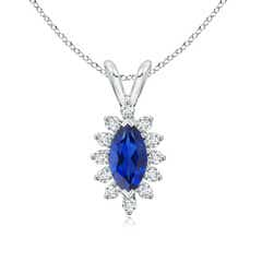 Vintage Style Marquise Sapphire Pendant with Diamond Halo