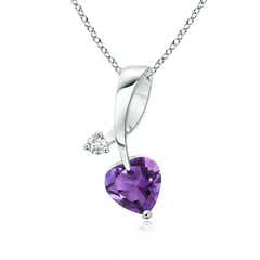 Heart-Shaped Amethyst Ribbon Pendant with Diamond