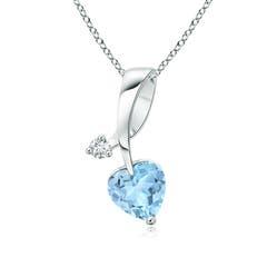 Heart-Shaped Aquamarine Ribbon Pendant with Diamond