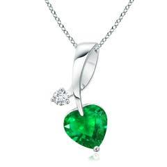 Heart-Shaped Emerald Ribbon Pendant with Diamond