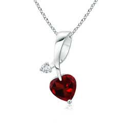 Heart-Shaped Garnet Ribbon Pendant with Diamond