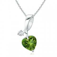 Heart-Shaped Peridot Ribbon Pendant with Diamond