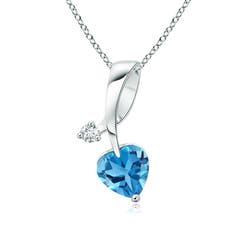 Heart-Shaped Swiss Blue Topaz Ribbon Pendant with Diamond