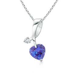 Twisted Heart Shaped Tanzanite Necklace with Diamond