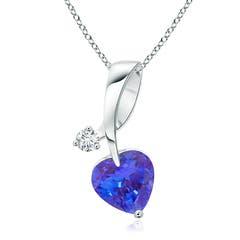 Heart-Shaped Tanzanite Ribbon Pendant with Diamond