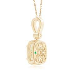 Toggle Cushion Emerald Pendant with Diamond Halo