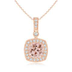 Diamond Halo Vintage Cushion Cut Morganite Necklace Pendant