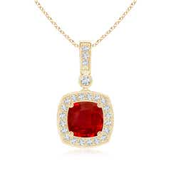 Cushion Ruby Pendant with Diamond Halo