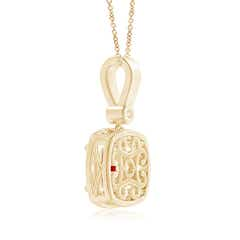 Toggle Cushion Ruby Pendant with Diamond Halo