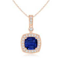 GIA Certified Cushion Sapphire Pendant with Diamond Halo
