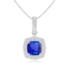 Diamond Halo Vintage Cushion Cut Tanzanite Necklace Pendant