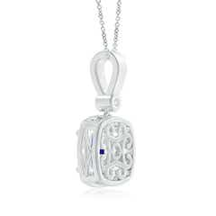 Toggle Cushion Tanzanite Pendant with Diamond Halo