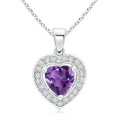 Floating Amethyst Heart Pendant with Diamond Halo