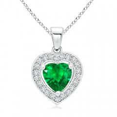 Floating Emerald Heart Pendant with Diamond Halo