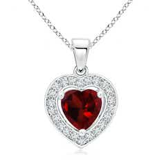 Floating Garnet Heart Pendant with Diamond Halo