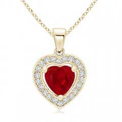 Floating Ruby Heart Pendant with Diamond Halo